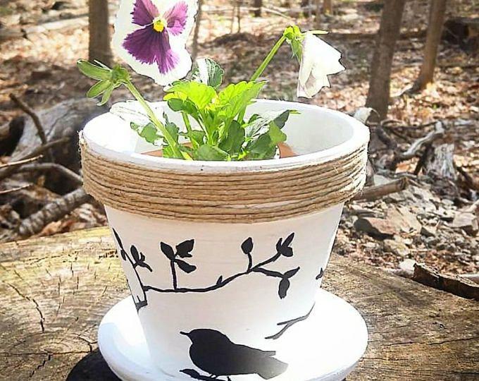 Bird Planter Pot Flowers Plants Handmade Hand Painted Flowers Indoor Outdoor