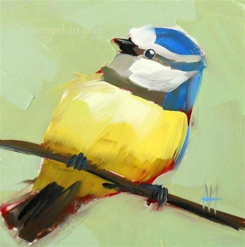 "Daily Paintworks - ""Blue Tit no. 22 Original Bird Painting"" - Original Fine Art for Sale - © Angela Moulton"