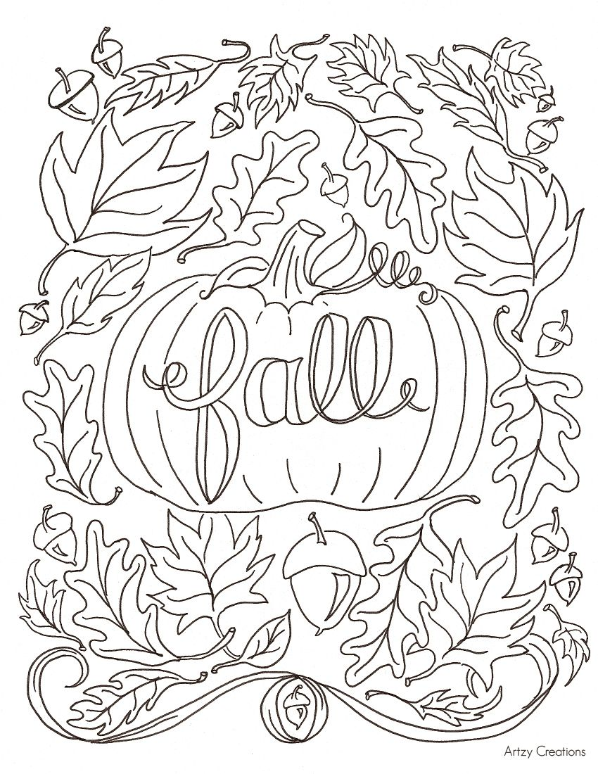 Pumpkin Fall Coloring Page Artzy Creations Jpg 850 1 100 Pixels Fall Coloring Sheets Fall Leaves Coloring Pages Thanksgiving Coloring Pages