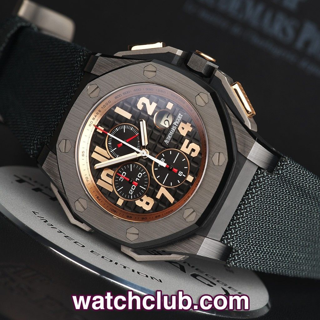 AUDEMARS PIGUET Royal Oak Offshore - Limited Edition REF: 26378IO.OO.A001KE.01 | Year Jan 2012 The final chapter of AP's collaboration with Arnold Schwarzenegger, 'The Legacy'. Produced in black scratchproof ceramic with rose gold crown insert and chrono pushers, only 1500 of these 48mm monster watches were ever made! Housing AP's in-house self-winding chronograph movement (cal. 2326/2840) - for sale at Watch Club, 28 Old Bond Street, Mayfair, London