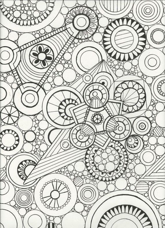 Original Hand Drawn Zen Doodle Art Adult Coloring Page