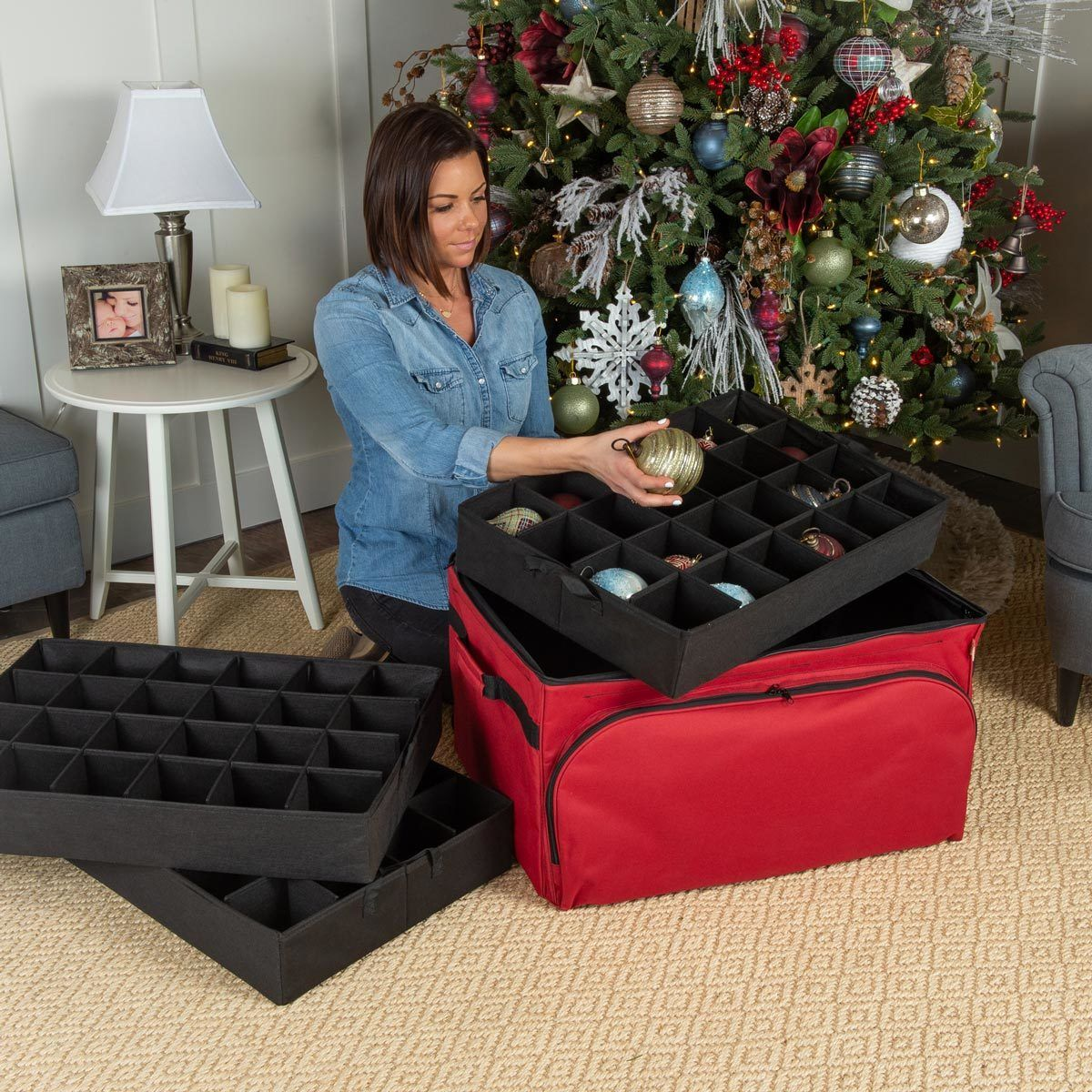 Christmas Ornament 3 Tray Storage Bag