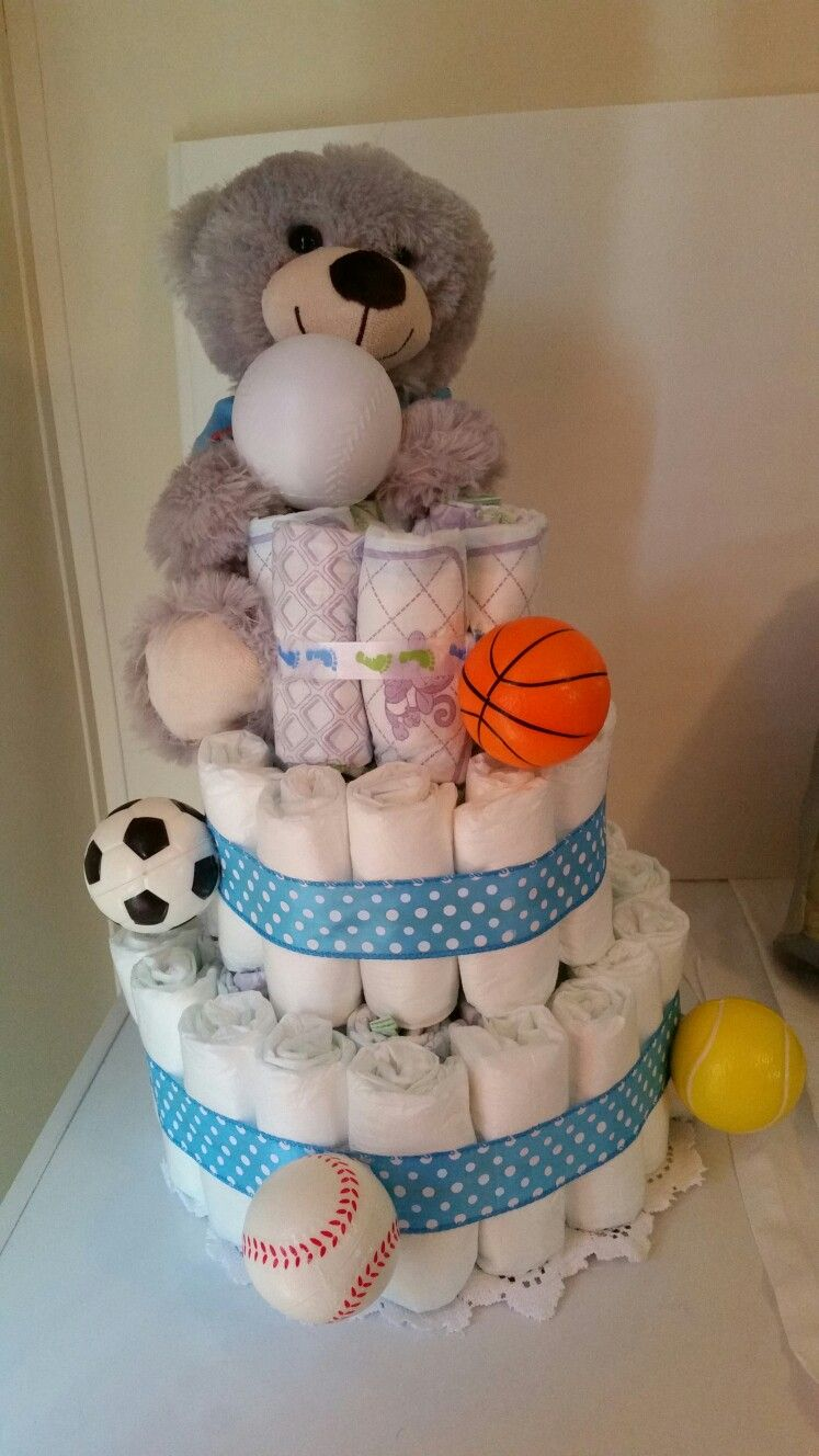 Diaper Cake with Bear (sports)  Cost  $60
