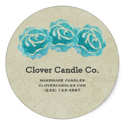 Vintage 3 teal watercolor roses on tan damask business classic round sticker
