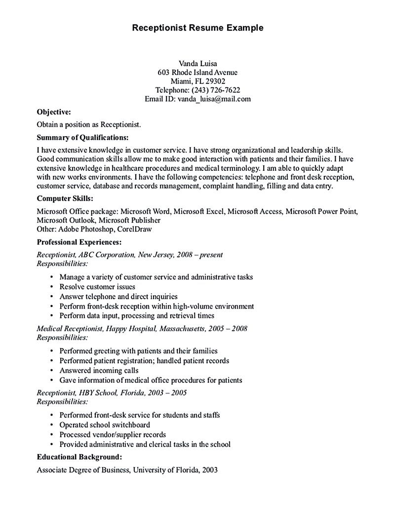 sample resume receptionist