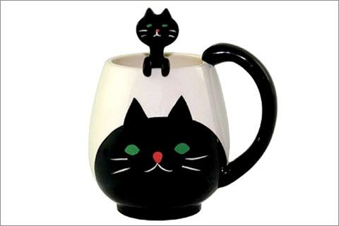 Cat Manmaru Mug + Spoon