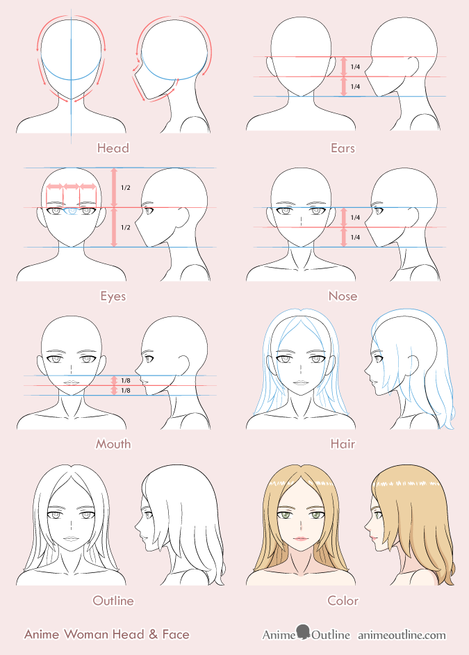 8 Step Anime Woman's Face Drawing Tutorial in 2020 (With