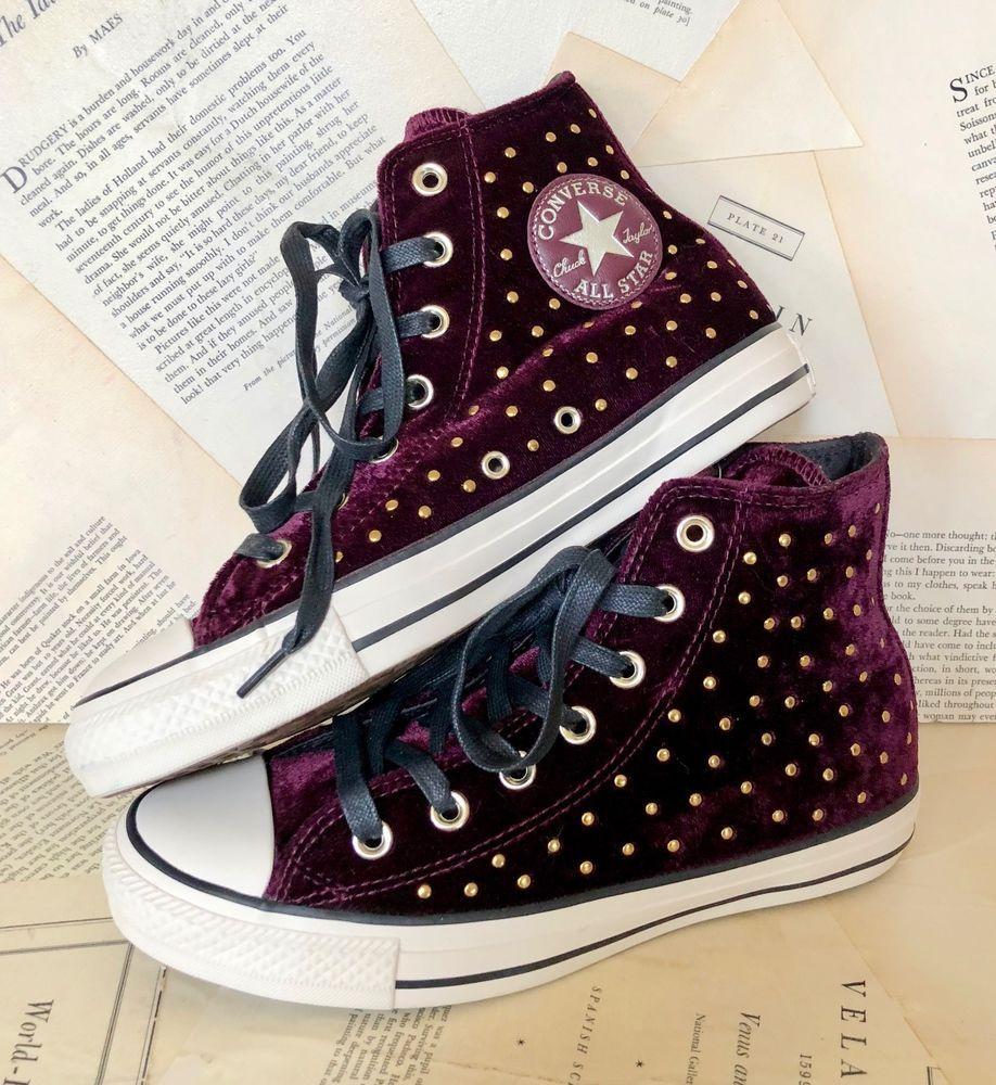 8e9c953d4db0 NEW Free People Converse purple Velvet Stud Hi Top Lace Up Sneaker Women US  7  Converse