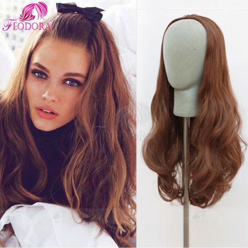 Human Hair Half Wig No Lace Wig Wavy 3 4 Wig Cap  30 Color 7A Virgin Human  Hair Extensions Wigs For White Women Customized Sale ed06444134