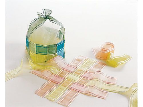 Create a delicate and elegant basket with weaved sheer organza silk ribbons.
