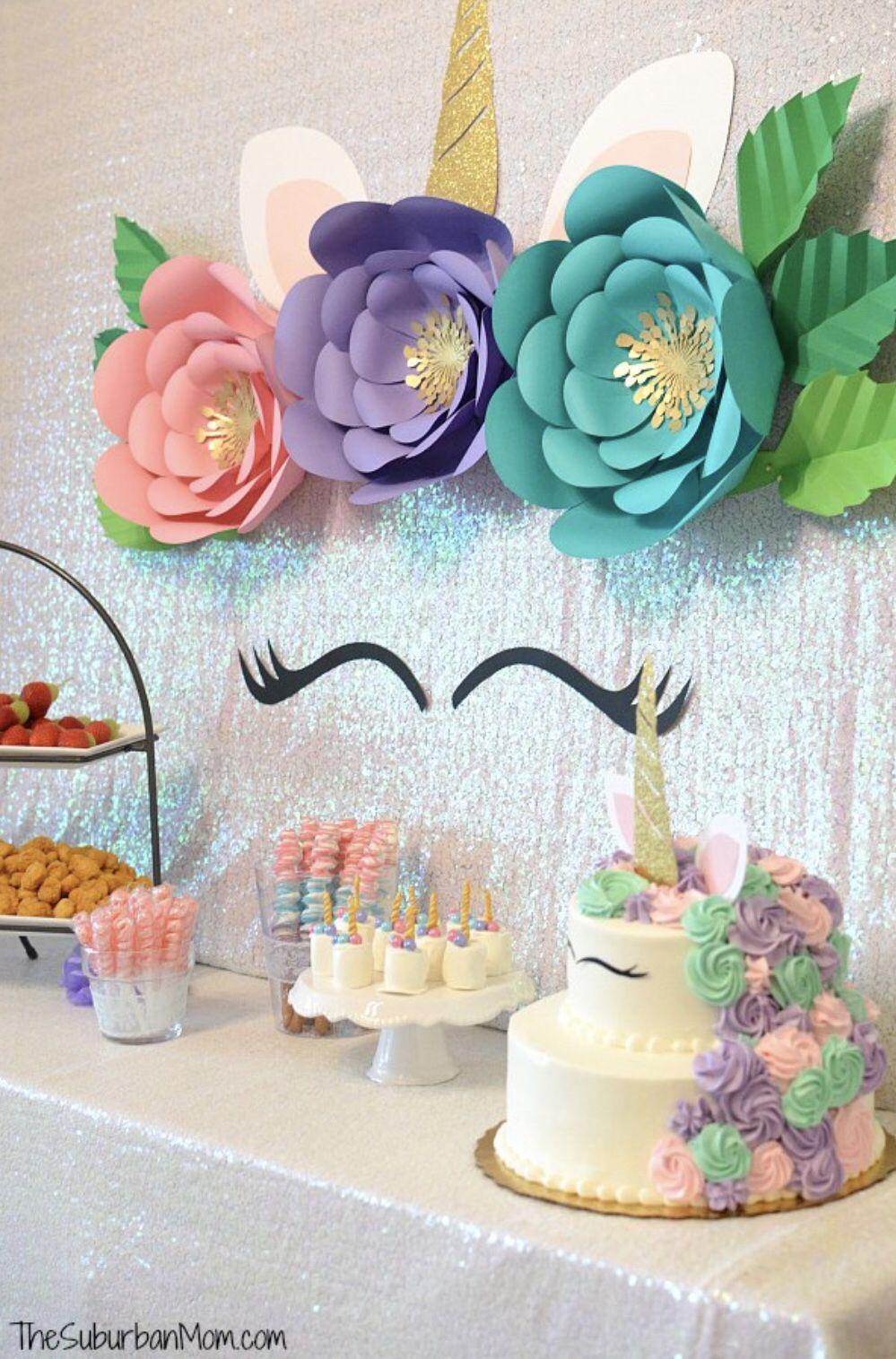 Unicorn Flower Backdrop Diy Unicorn Party Unicorn Birthday Etsy Unicorn Birthday Party Cake Unicorn Birthday Party Decorations Birthday Party Cake