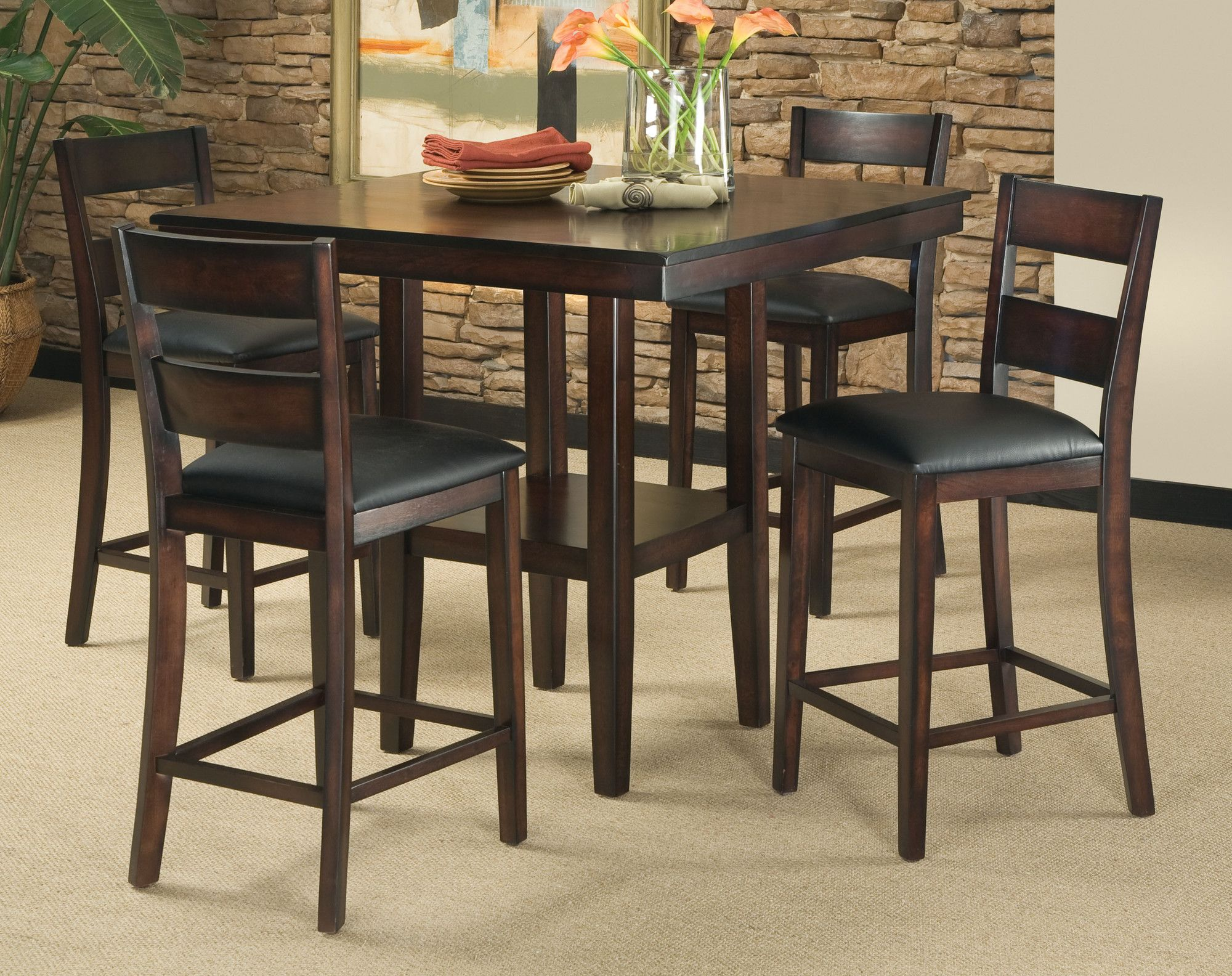 Standard Furniture Pendelton Counter Height Table and Four Stools in Dark cherry My new kitchen table! : kitchen bar stools and table sets - pezcame.com