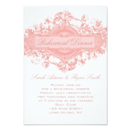 Vintage Pink Floral Wedding Rehearsal Dinner Card Zazzle Com Vintage Wedding Invitations Flower Wedding Invitation Wedding Reception Cards