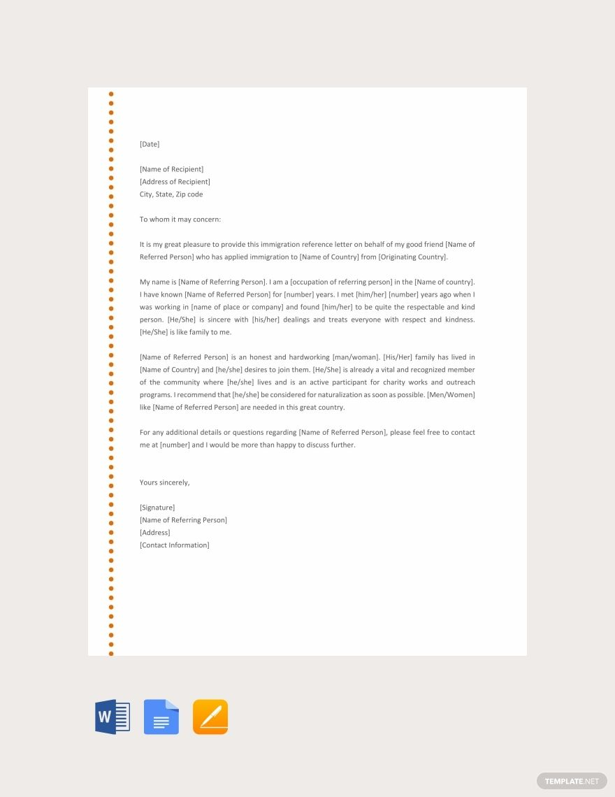 Free Immigration Reference Letter Reference Letter Template