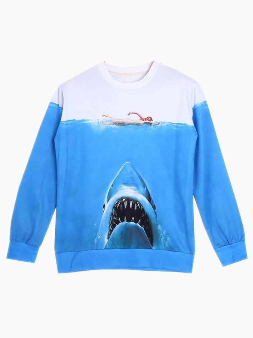 New Look 3D Unisex Sweatshirt With Shark Print | Choies
