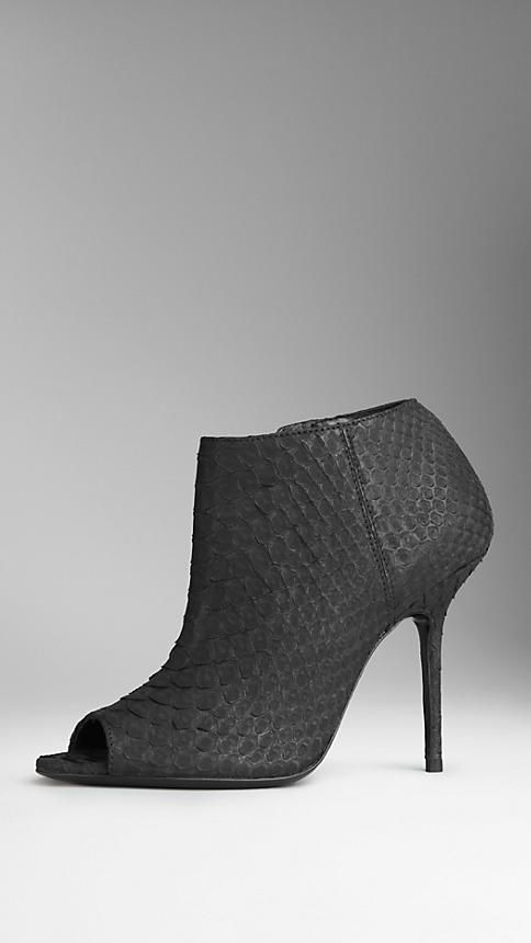 7ce761d507 Burberry Peep-Toe Nubuck Python Ankle Boots on shopstyle.co.uk ...