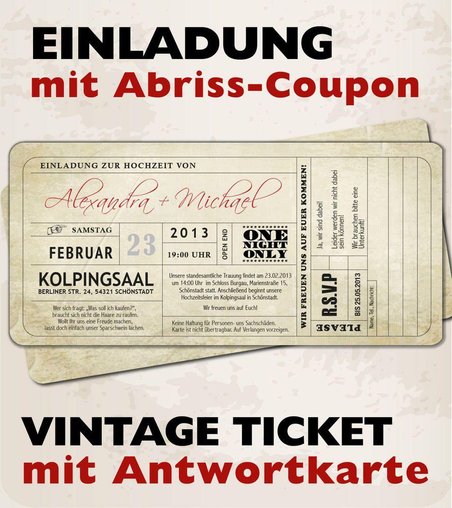 Vintage Einladungskarten Zur Hochzeit U2022 Eintrittskarte U2022 Ticket U2022 Einladung