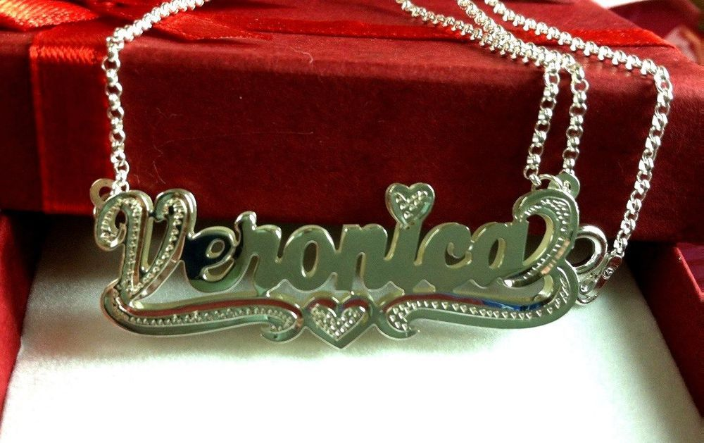 CLASSY NECKLACE VERONIKA CHAIN REAL GOLD PLATED NAME NEW