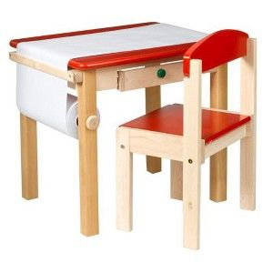 Guidecraft Art Table and Chair Set - Red/Natural | Home Project ...