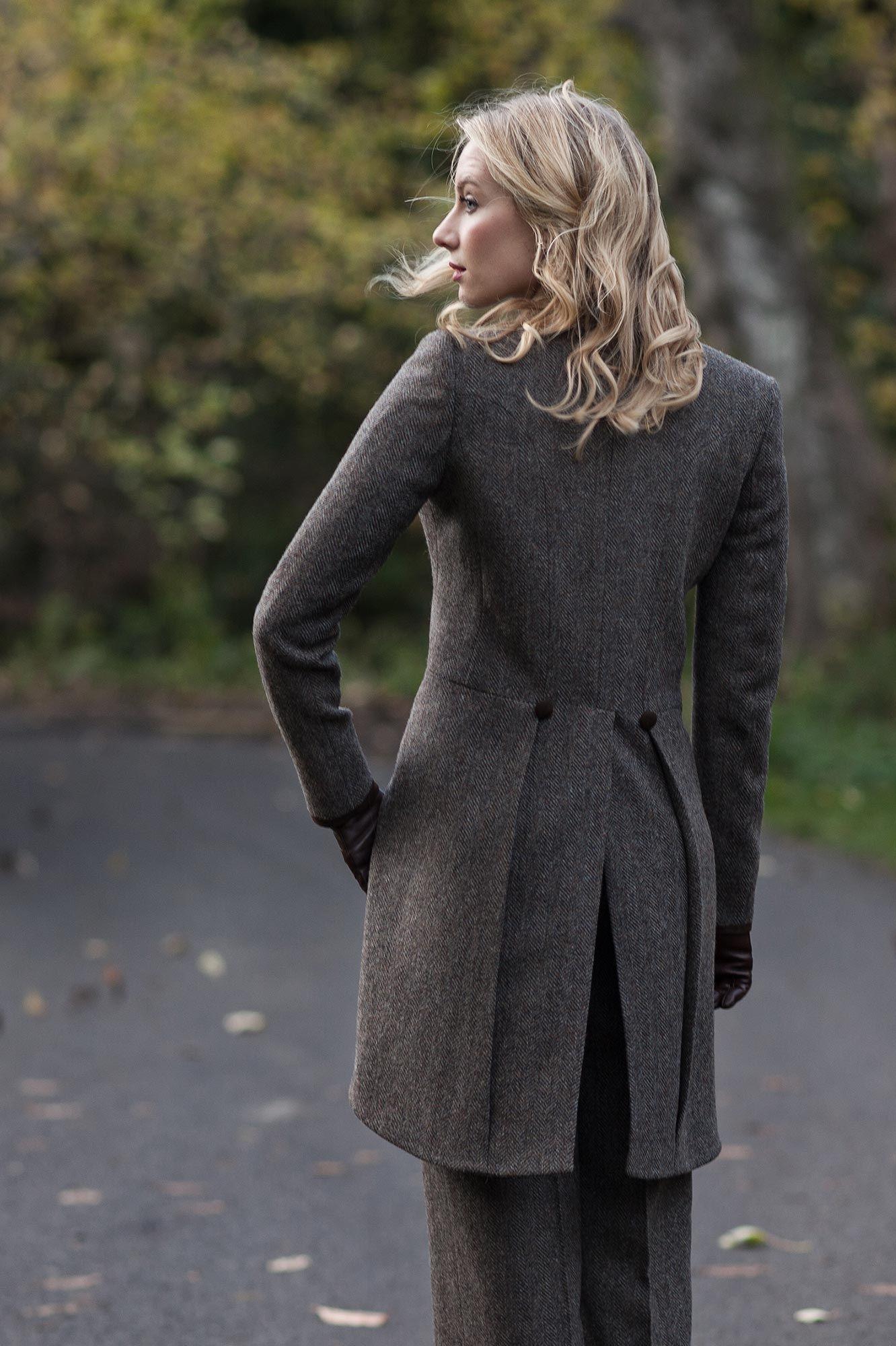 Brown Herringbone Shetland Tweed Grace Tailcoat Women