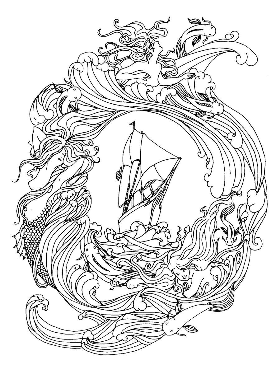 free pirate mermaid coloring pages - photo#21