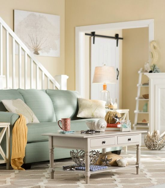 Sunny Beach Cottage Style Living Room The Look Here Http