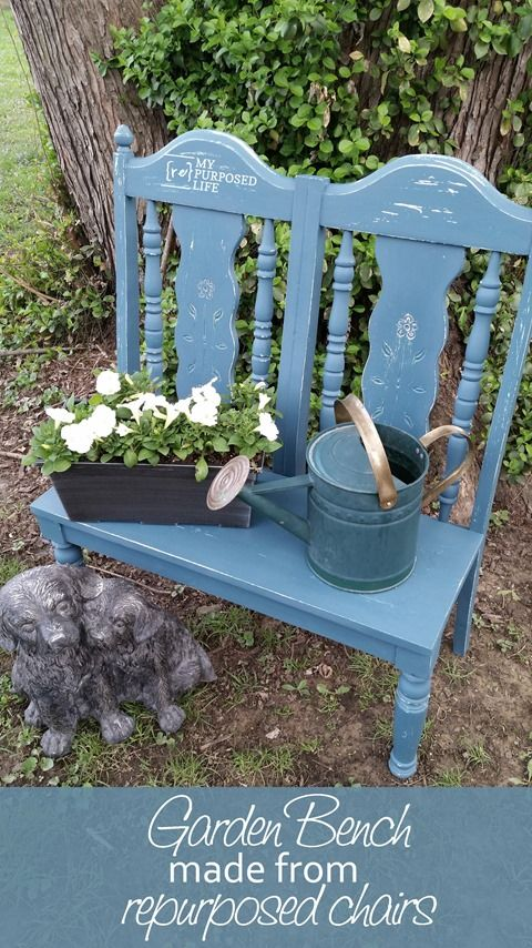 garden bench from repurposed chairs - Easy Garden Furniture To Make