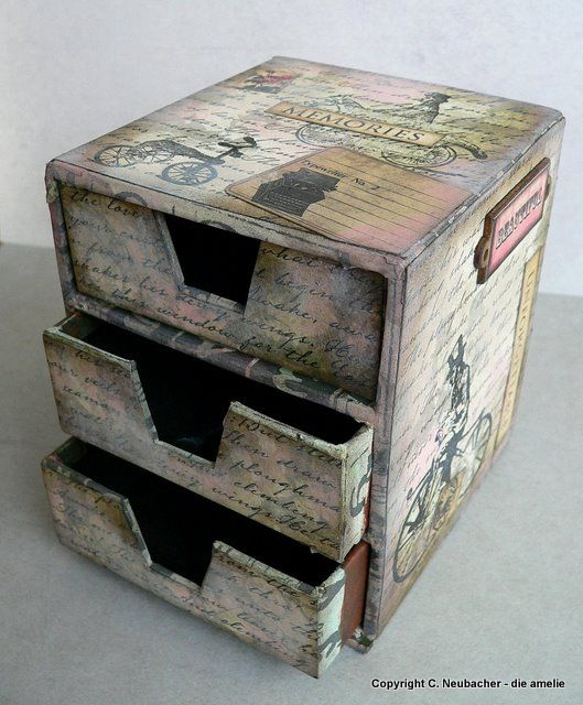 Von Pappe Ii Altered Mini Drawer Box Ideas Boxes Pappe