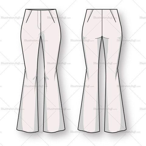 Women S Bootcut Trouser Pant Fashion Flat Template Fashion Fashion Sketch Template Fashion Design