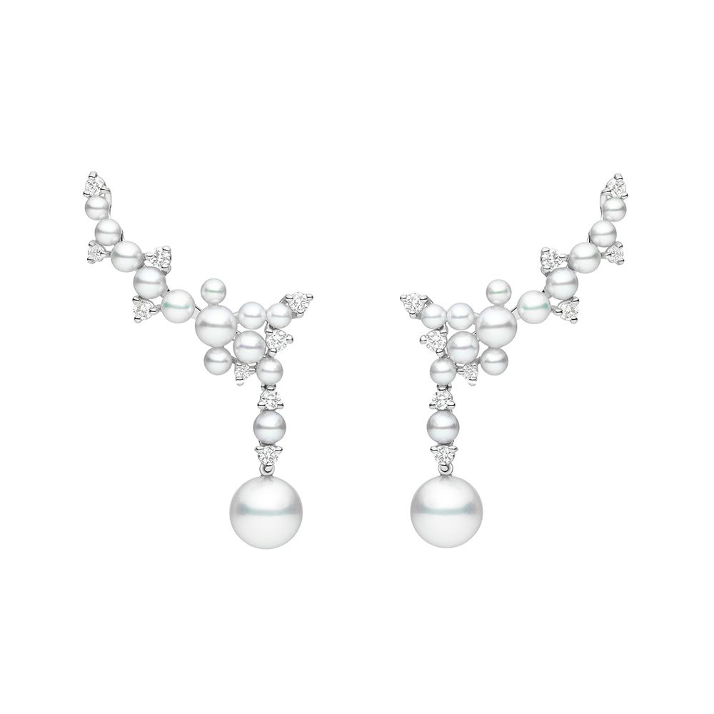 Paul Morelli 18k Pearl & Diamond Orbit Double Drop Earrings 867guiT