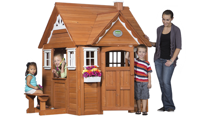 Backyard Discovery Cedar Cottage outdoor wooden cedar cottage play house for kids | backyard