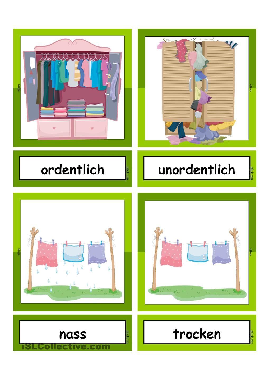 Waschtag_Adjektive _ Flashcards klein | Deutsch, Schule und ...