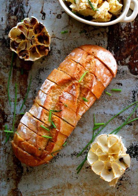 roast garlic & talegio bread...recipe