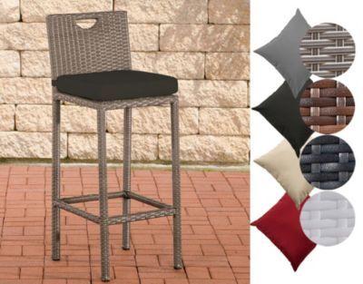 Polyrattan Outdoor Barhocker MARI mit Sitzkissen in verschiedenen
