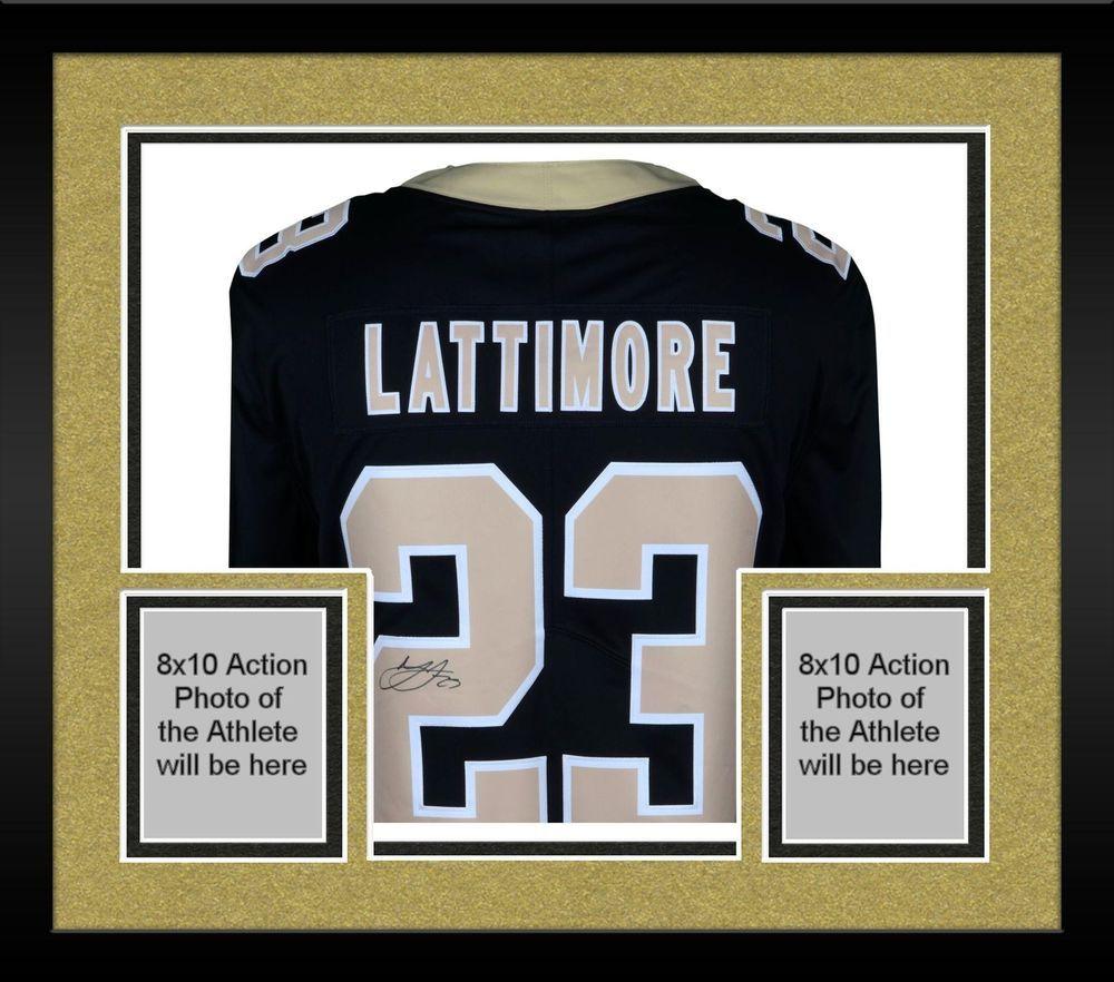 Framed Marshon Lattimore New Orleans Saints Signed Black Nike Limited Jersey 3aa01c124