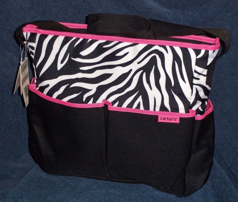 Carters Baby S 2pc Black White Pink Zebra Print Diaper Bag Changing Pad New In Ebay