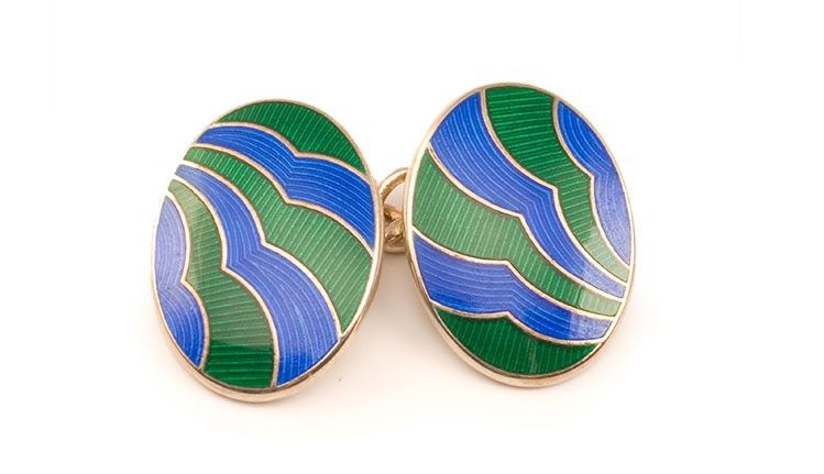 Dapper green and blue enamel sterling silver double sided cuff links #cufflinks #mensfashion #mensstyle