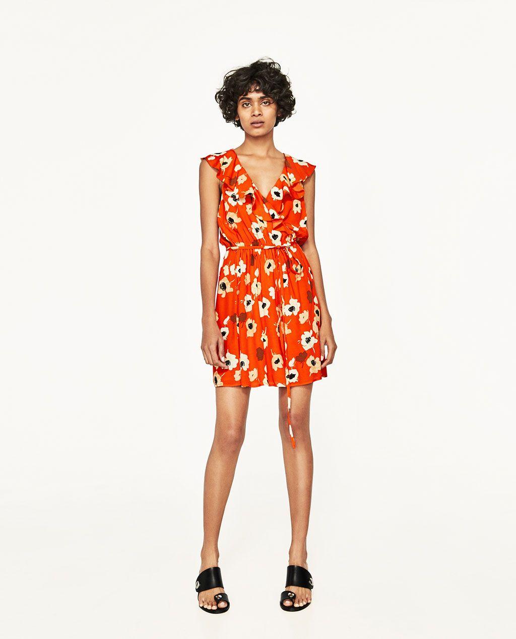 2ebc89cb9825 ZARA - WOMAN - FLORAL PRINT CROSSOVER DRESS