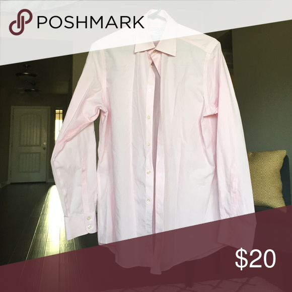 CT shirt Pink & white pinstripe dress shirt. Non-iron slim fit. 15 neck, 33 sleeve. Excellent condition. Charles Tyrwhitt Shirts Dress Shirts