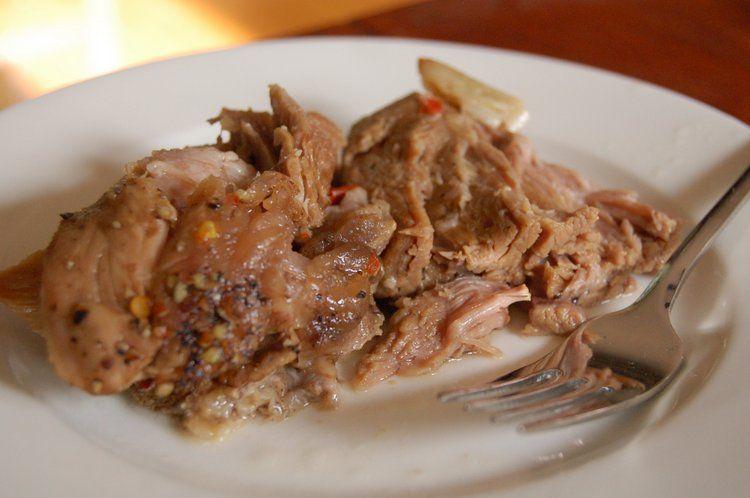 Carne da Vinha d'Alhos. (Pork Roast made similar to Carolina based vinegar BBQ) http://gorumando.com/carne-d-vinha-dalhos/