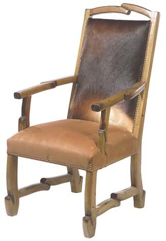 Timber Ridge Western Chair Dining Chairs Cowhide Back And Leather Seat Hand
