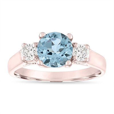 Aquamarine Engagement Ring Rose Gold, Three Stone Engagement Ring, Aquamarine & Diamonds Wedding Ring, 1.45 Carat Handmade #aquamarineengagementring