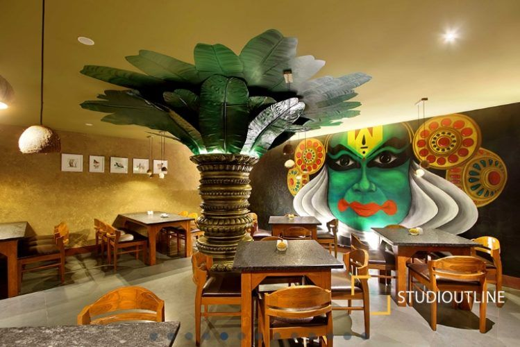 Wall Mural Is A Major Highlight In South Indian Restaurant Studiooutline The Architects Diary Wall Murals Mural Restaurant Bar Decor