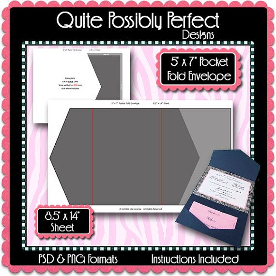 X Pocket Fold Envelope Template Instant By Quitepossiblyperfect