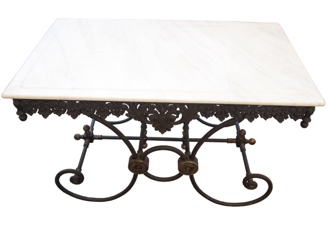 Reproduction French Marble Top Pastry Table