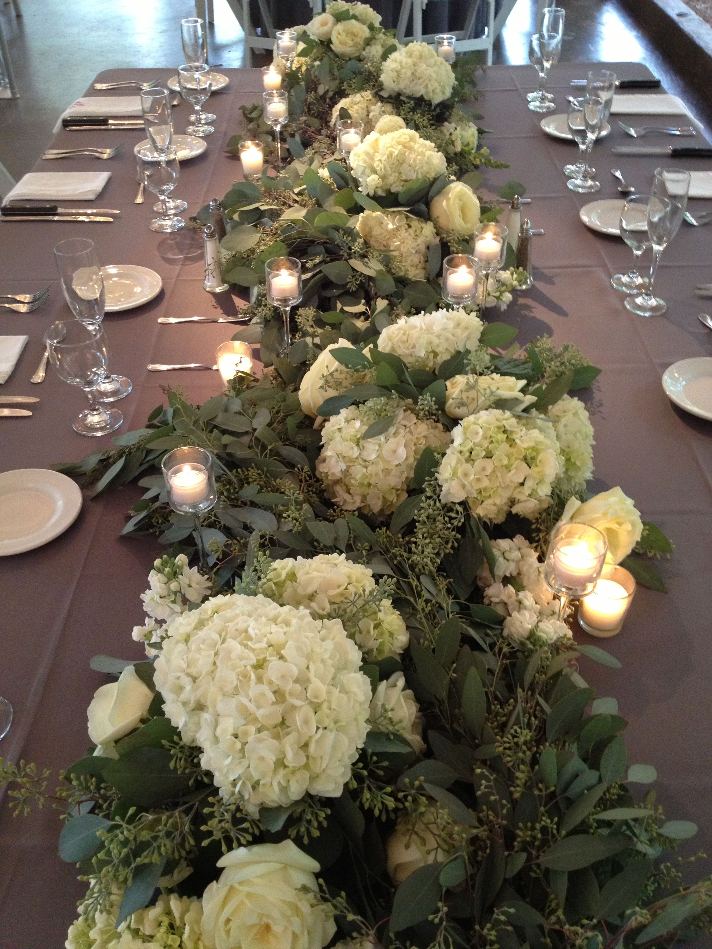 Lush Garland Of Flowers And Seeded Eucalyptus Running The Entire Length Of The Estate Table Stu Hydrangea Centerpiece Wedding Flowers Hydrangea Lush Garlands