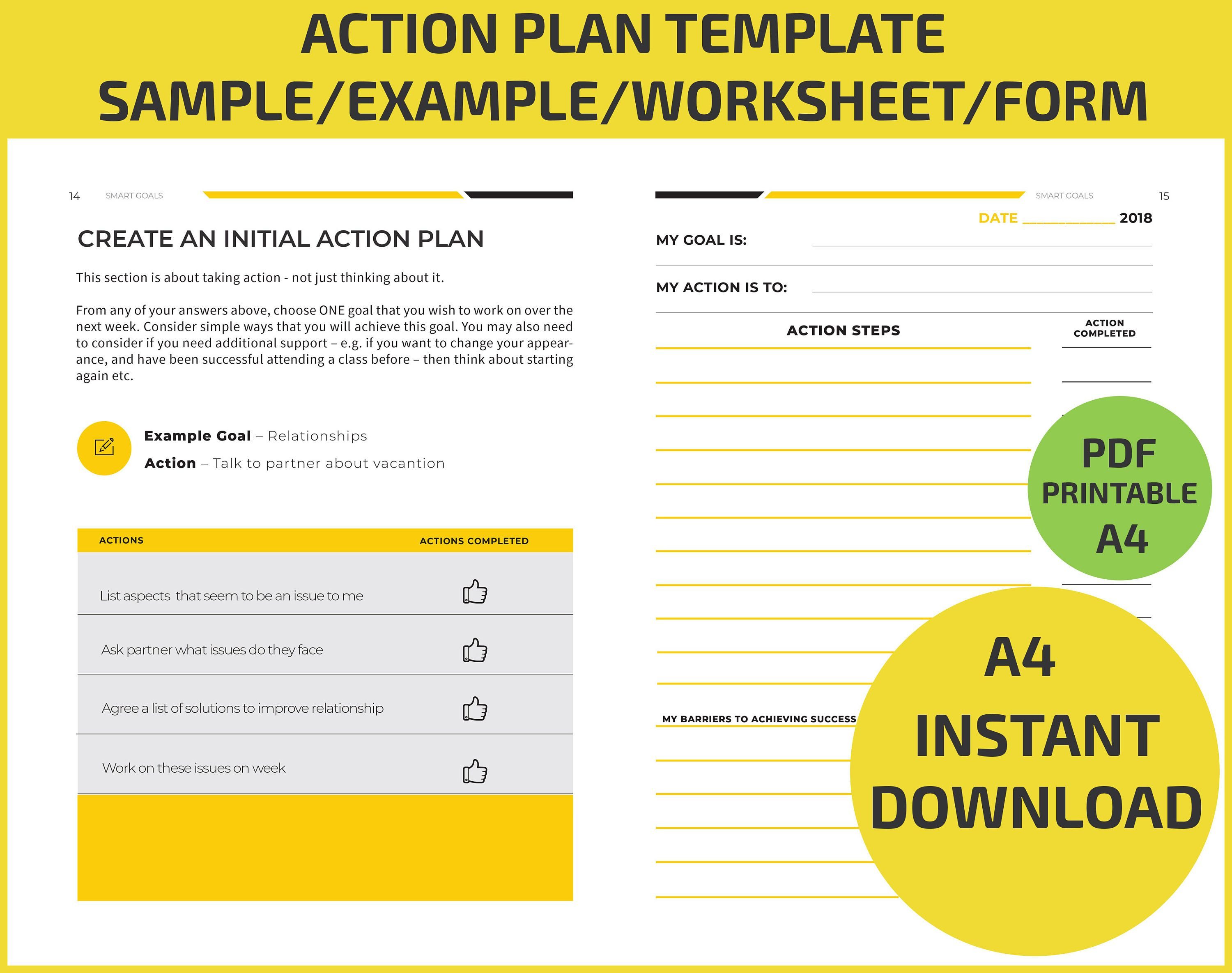 Action Plan Goal Setting Training Worksheet Examples Sample Writing Leadership Meaning Book