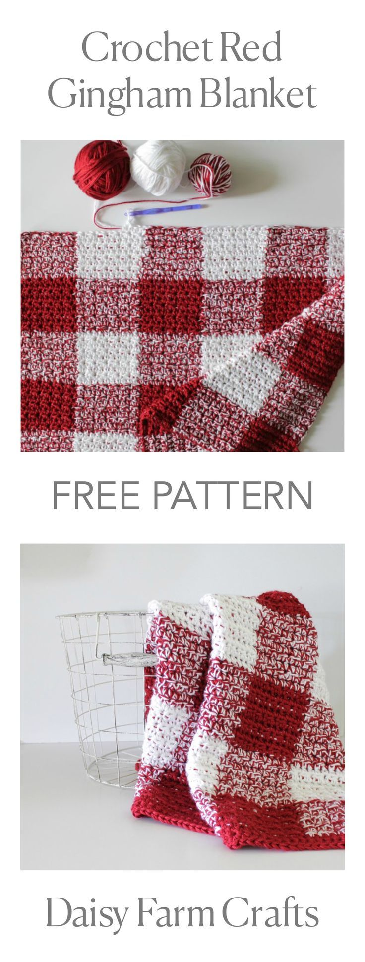 FREE PATTERN - Crochet Red Gingham Blanket | Crochet | Pinterest ...