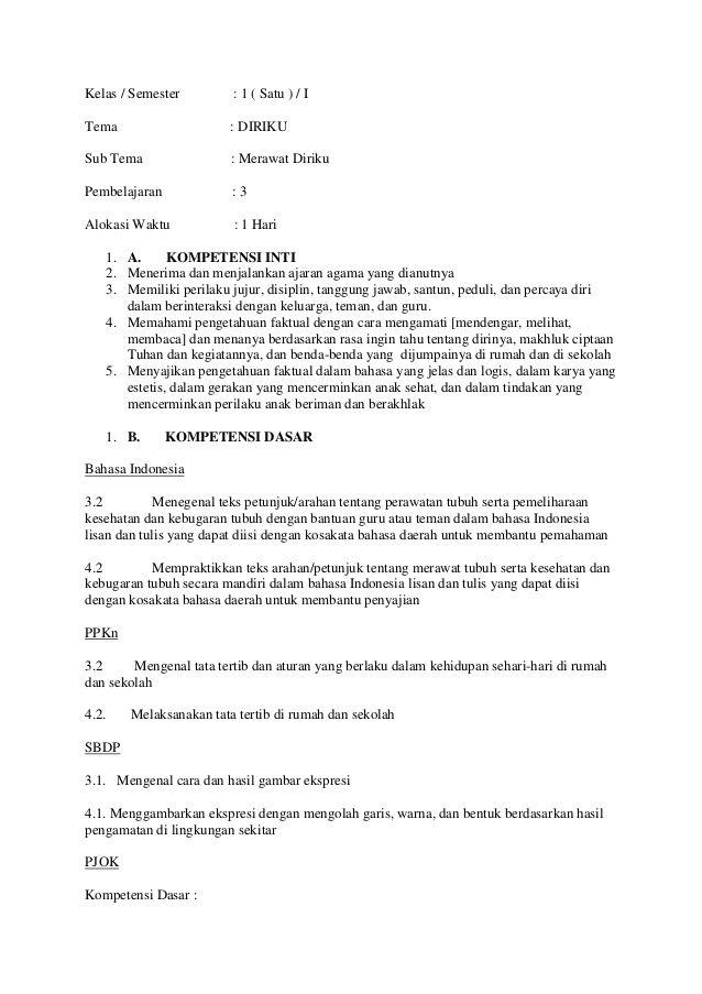 Rpp Kelas 1 Tema 3 : kelas, Kelas, Pembelajaran, Semester