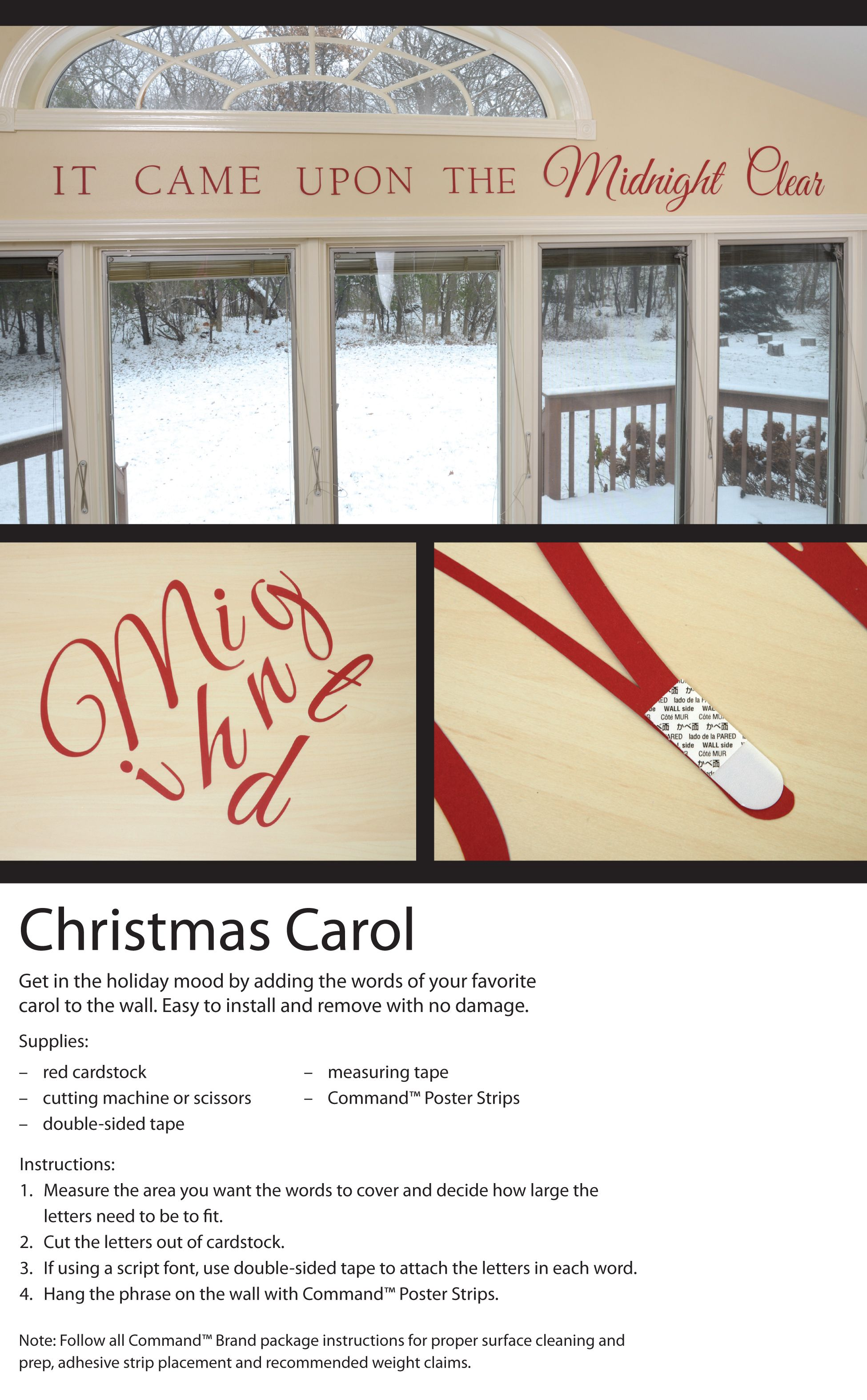Adding A Christmas Carol Phrase To Your Wall Is Easy And